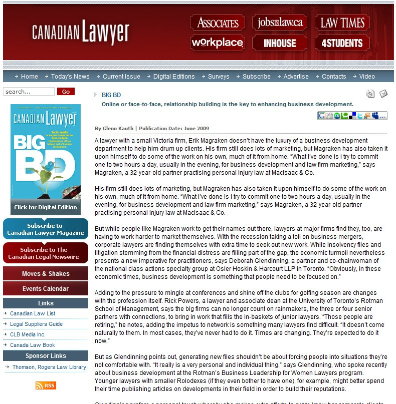 Canadian Lawyer on Online Client Development