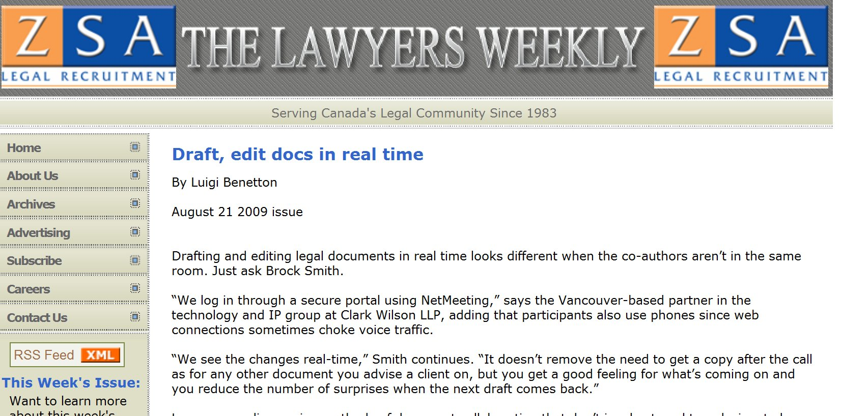The Lawyers Weekly on Real-Time Collaboration