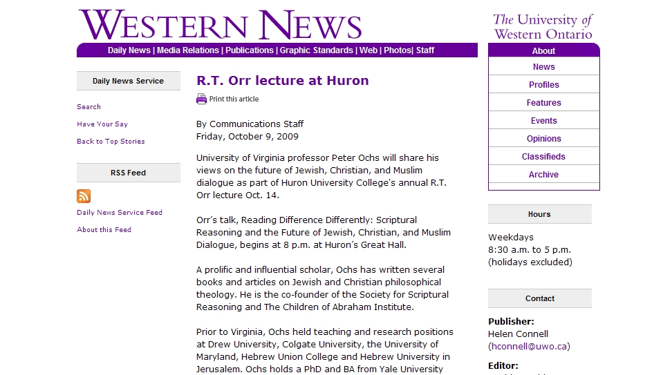 R.T. Orr lecture at Huron