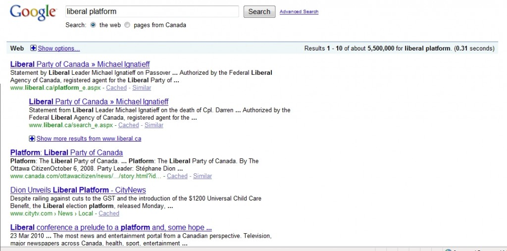 What is the Liberal Party of Canada's Platform?