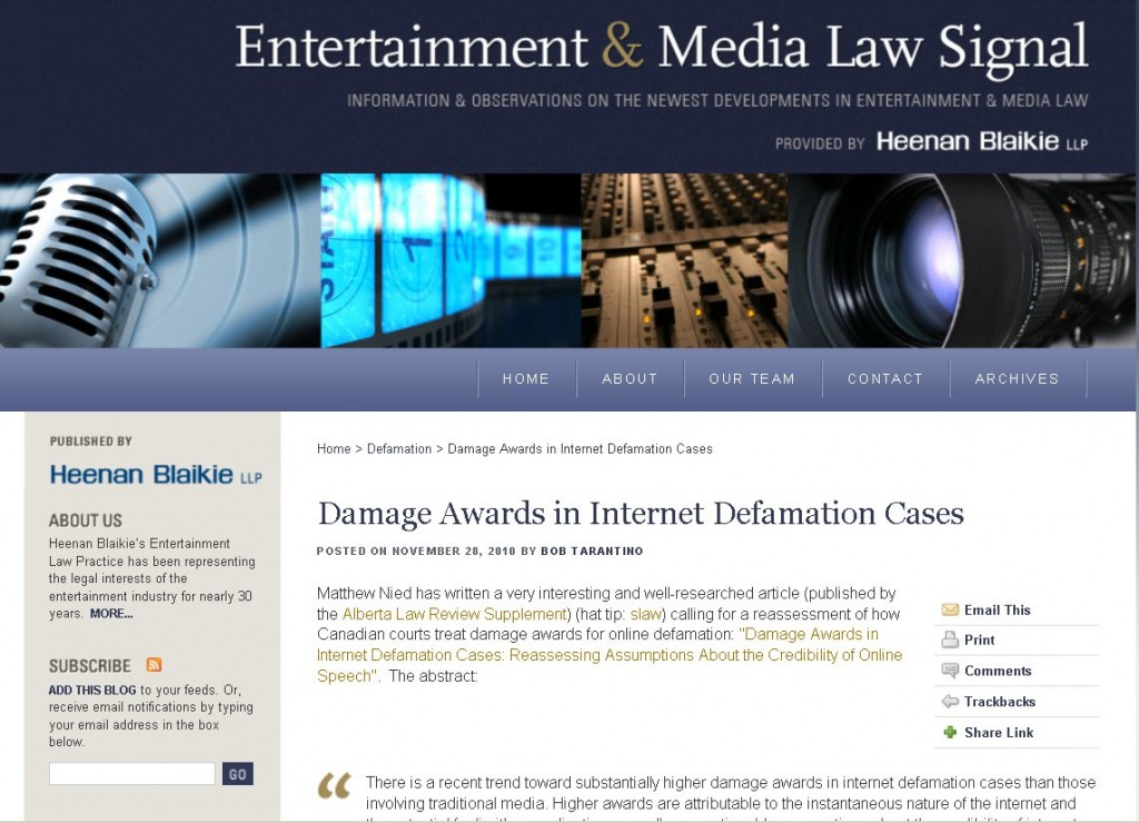 Damage Awards in Internet Defamation Cases