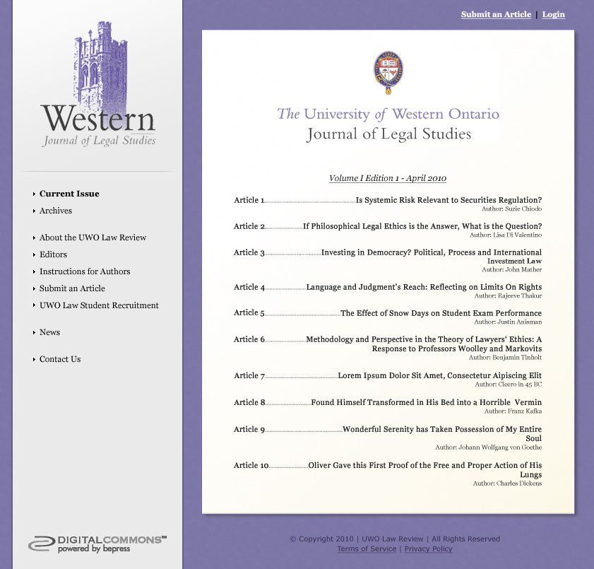 The Birth of the University of Western Ontario Journal of Legal Studies