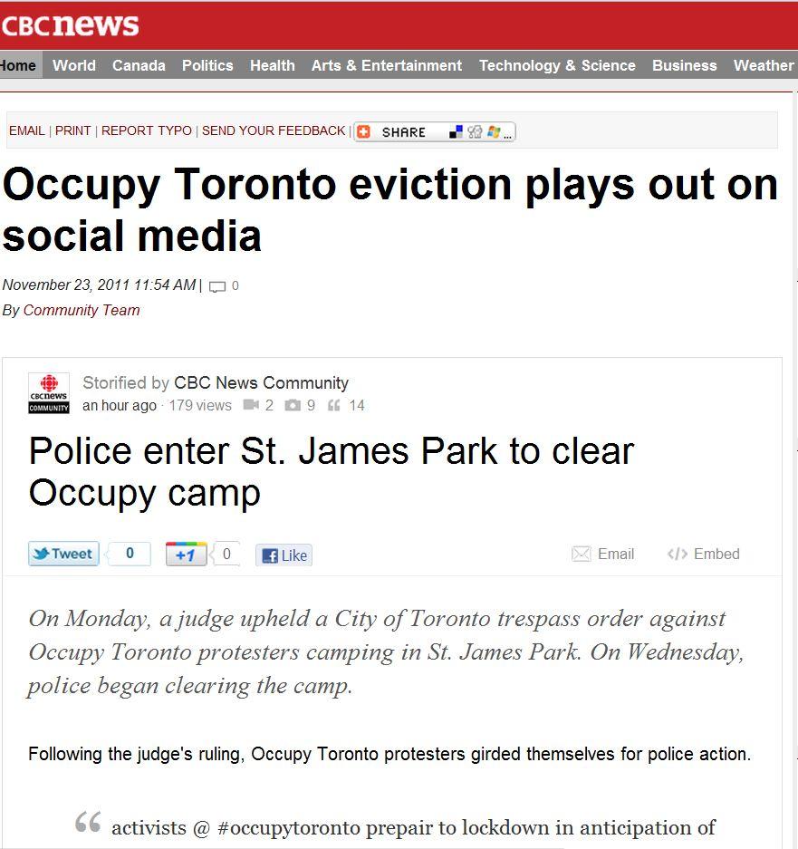 Occupy Toronto Eviction on Social Media