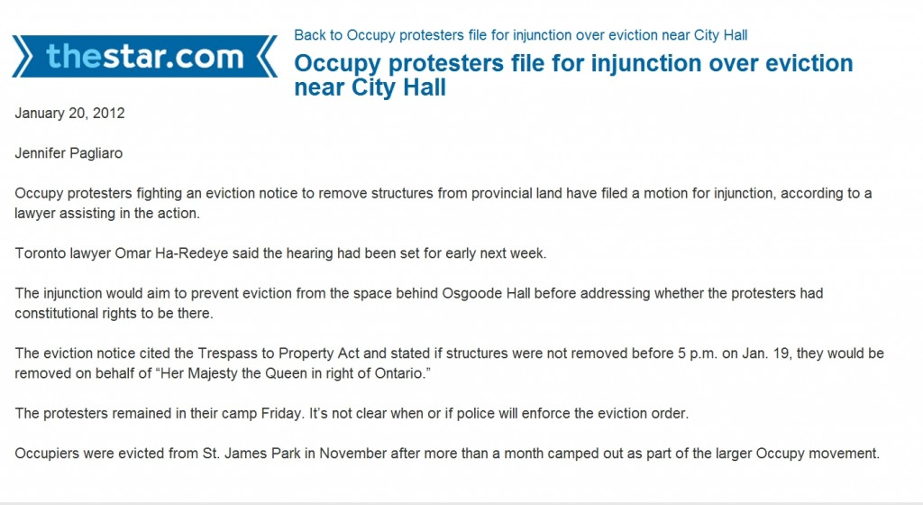 Occupying the Ontario Superior Court of Justice