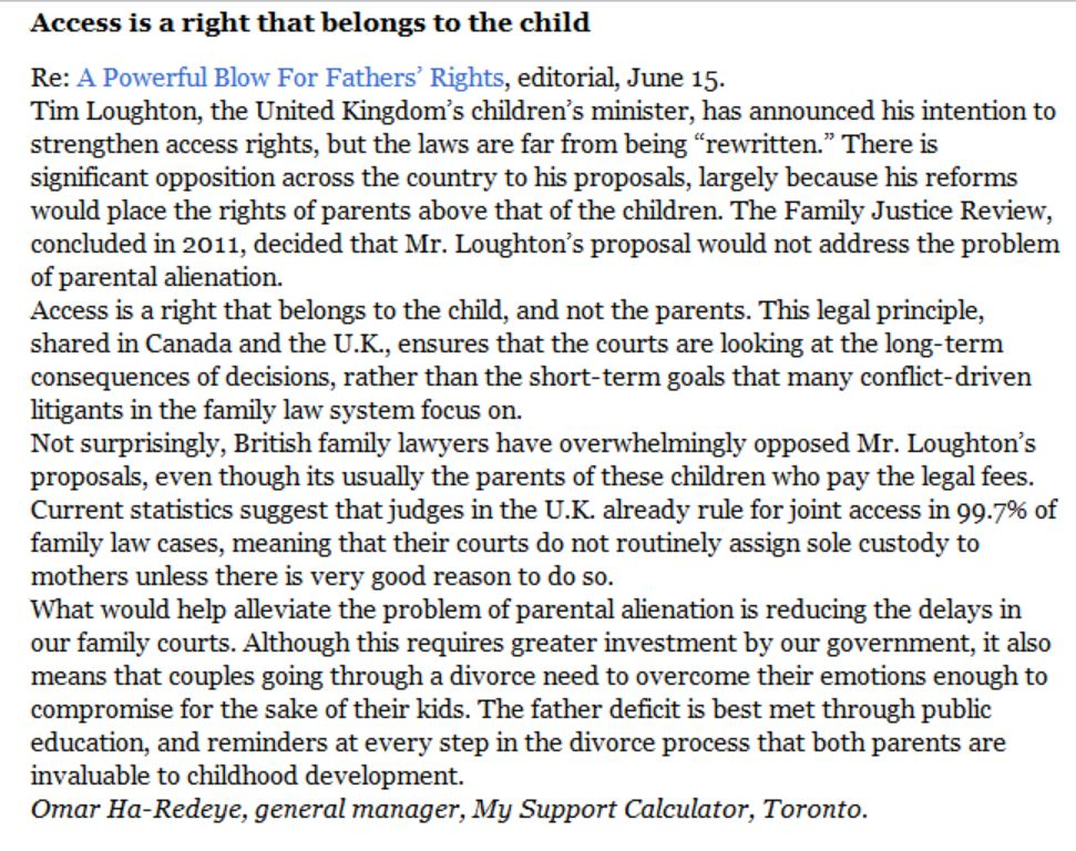Letter in National Post on Access Rights of Children