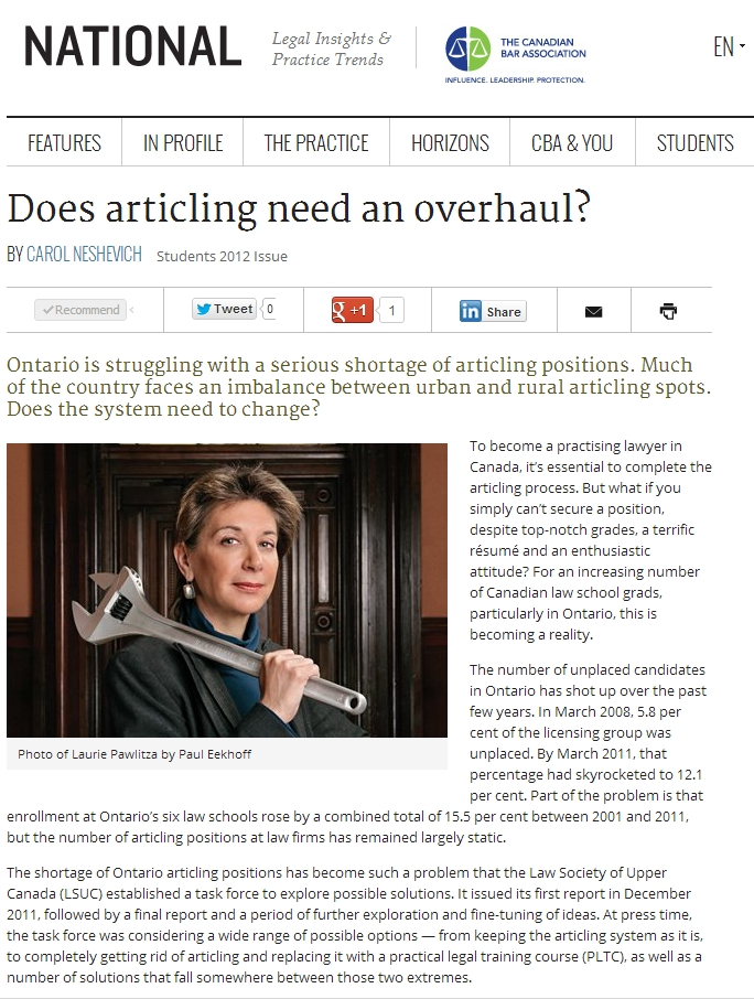 Articling Crisis Discussed in National Magazine