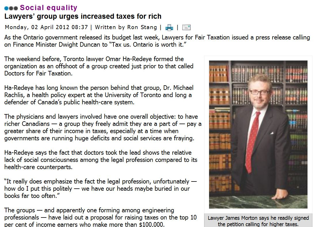 Omar Ha-Redeye in Law Times on Lawyers for Fair Taxation