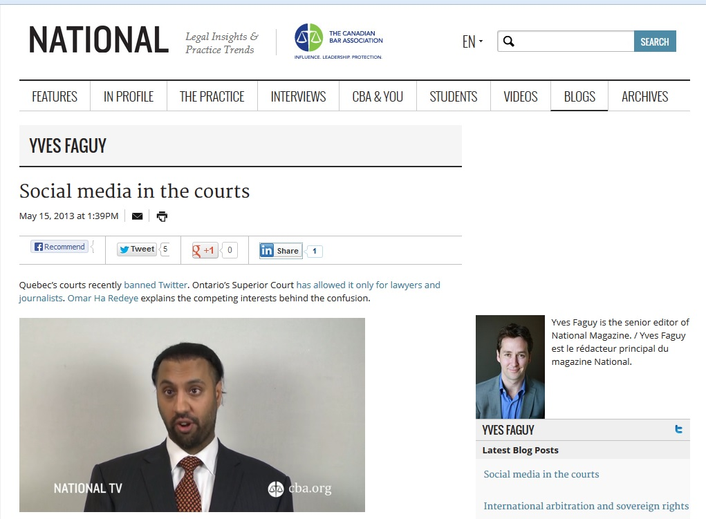 Omar Ha-Redeye on Social Media in Courts